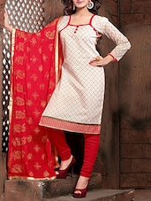 White Printed Semi Stitched Suit Set - By