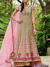Beige Embroidered Semi Stitched Anarkali Suit Set - By