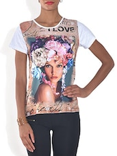 Multicolored Poly Viscose Digital Printed T Shirt - By - 9575959