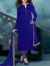 Blue Embroidered Banglori Silk Semi Stitched Suit Set - By