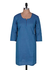 Sky Blue Three Quarter Sleeve Plain Cotton Kurti - Buy Clues