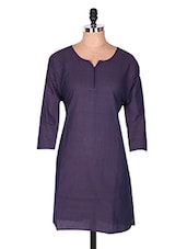 Purple Three Quarter Sleeve Plain Cotton Kurti - Buy Clues