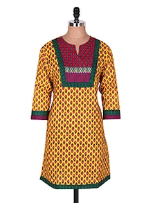 Multicolored Printed Evening Cotton Kurti