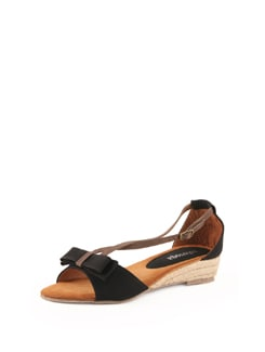 Black Strappy Sandals With Jute Heel - Solo Voga