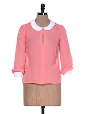 Pink And White Top With Peterpan Collar - La Zoire