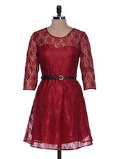 Cherry Red Lace Party Wear Dress - La Zoire