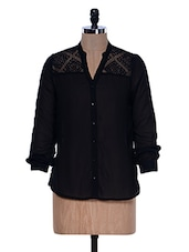 Fullsleeves Black Lacy Shirt - La Zoire