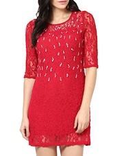 Red Lace Sheath Dress - Stykin
