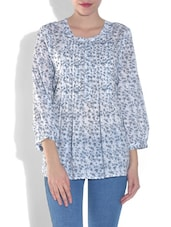 White Cotton Sheer Printed Top - By