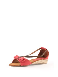 Red Strappy Sandals With Jute Heel - Solo Voga