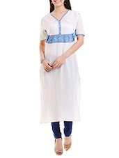 Off White Printed Cotton Cambric Kurta - By