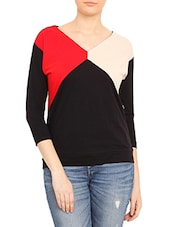 Black Color Blocked Cotton Spandex Top - By