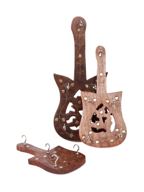 Wooden Guitar Key Holder Set Of 3 Pieces - Onlineshoppee