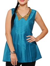 Blue Poly Silk Short Kurta With Inverted Pleat Detail - By