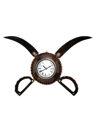 Antique Wooden Sword Armour Clock