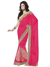 Pink Embroidered Faux Chiffon Saree - By