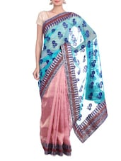 Pink And Blue Jacquard Printed Saree - By