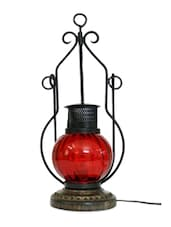 Wooden & Iron Hand Carved Colored Electric Chimney Lantern - Red - Onlineshoppee