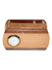 Wooden Multipurpose Pen,Card,Mobile Holder With Clock - Onlineshoppee