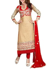 Orange Cotton Embroidered Semi Stitched Suit Set - By