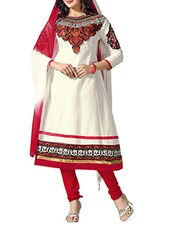 White Cambric Cotton Embroidered Semi Stitched Suit Set - By