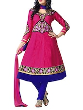 Pink Cambric Cotton Embroidered Semi Stitched Suit Set - By