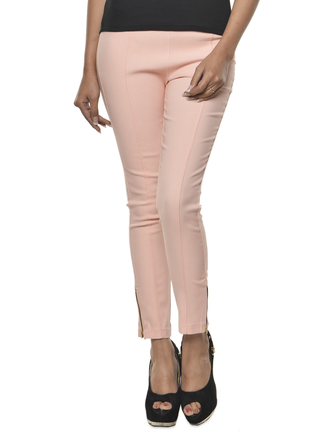 Baby Pink Cotton-Knit Jeggings - Ursense