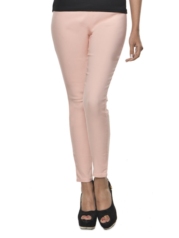 Baby Pink Cotton-Knit High Waist Jeggings - Ursense