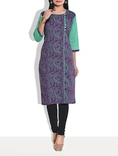 Green And Purple Cotton Printed Kurti - By