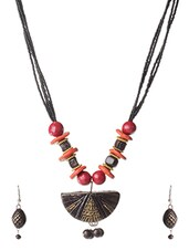 Black Beaded Terracotta Necklace And Earrings Set - By