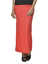 Coral Pink Polyester-Knit Long Skirt - Ursense