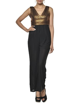 Black And Gold Polyester-Knit Jumpsuit
