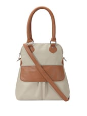 Cream And Tan Hand Bag Cum Sling Bag - Bagsy Malone