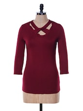 Maroon Front-Knot Top - Femella