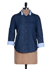 Solid Navy Blue Printed Shirt - Fast N Fashion