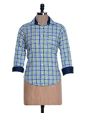 Light Green And Blue Chequered Shirt - Fast N Fashion
