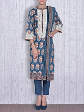 Dark Blue Printed Cotton Unstitched Suit Set - By