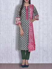 Forest Green Printed Cotton Unstitched Suit () -  online shopping for Unstitched Suits