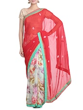 Red And White Floral Printed Georgette Saree - By
