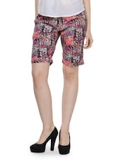Multi-coloured Printed Casual Shorts - Fast N Fashion
