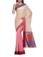 Half And Half Pink-beige Cotton Saree - SSPK
