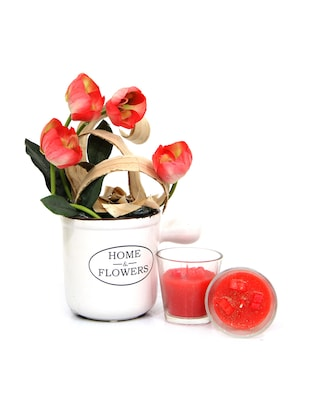 Gifts by Meeta Beautiful Pink Artificial Tulip Bunch n Candles with Vase for Home Décor and Diwali DIWALIGIFTS10035