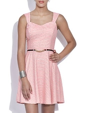 Pink Striped Cotton Knit Skater Dress With Belt - By
