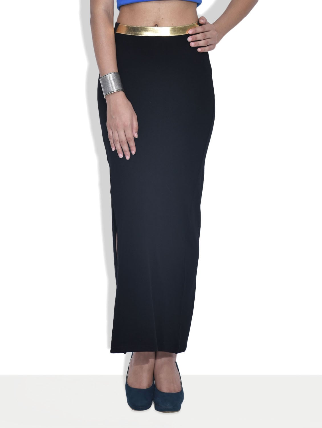 black poly cotton spandex knit slitted maxi skirt by