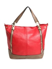Red And Brown Faux Leather Twin Zip Handbag - By