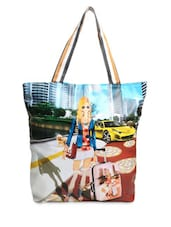 Multicolored Faux Leather Printed Tote Bag - By