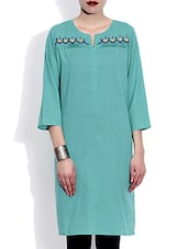 Sky Blue Embroidered Quarter Sleeved Cotton Kurta - By