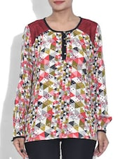 White Printed Full Sleeved Top - By