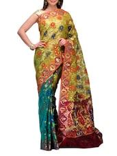 Yellow Half And Half Kora Banarasi Saree - SSPK