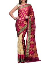 Magenta Half And Half Cotton Banarasi Saree - SSPK